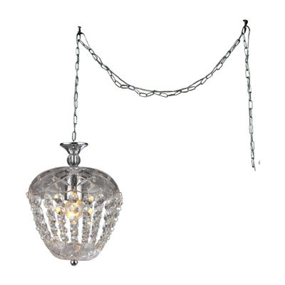 Warehouse Of Tiffany Miriam 1-light Crystal 8-inch Chrome Swag Lamp