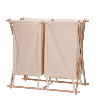 Household Essentials X-Frame Wood Double Laundry Hamper Sorter