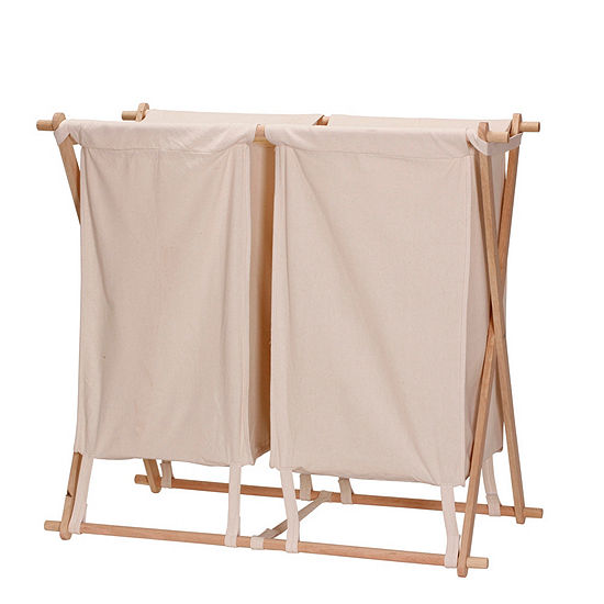 Household Essentials X Frame Wood Double Laundry Hamper Sorter