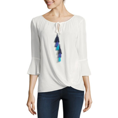 by&by Long Sleeve Scoop Neck Crepon Blouse-Juniors