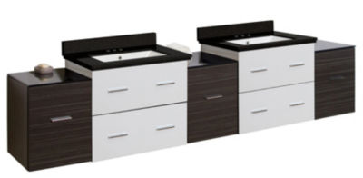 88.5-in. W Wall Mount White-Dawn Grey Vanity Set For 3H4-in. Drilling Black Galaxy Top White UM Sink