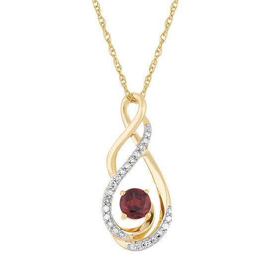 Womens Diamond Accent Genuine Red Garnet 10K Gold Pendant Necklace