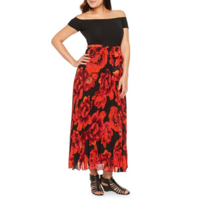Premier Amour Short Sleeve Floral Maxi Dress