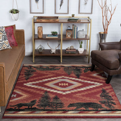 Tayse Colorblock Wildlife Novelty Lodge Area Rug