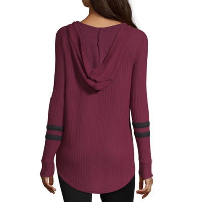 Flirtitude Long Sleeve Knit Hoodie-Juniors