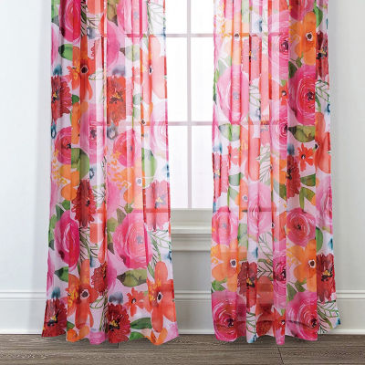 Sara B. Santa Monica 2-Pack Printed Sheer Curtain Panels