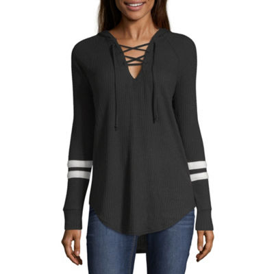 Flirtitude Womens Long Sleeve Knit Hoodie-Juniors