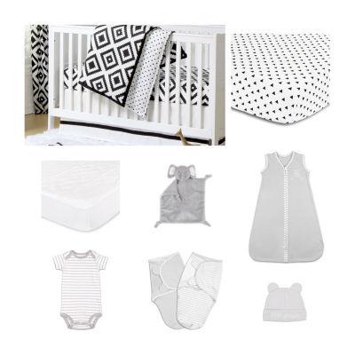The Peanut Shell Deco Diamond Crib Bedding Set