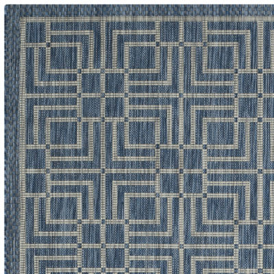 Safavieh Courtyard Collection Adelaide Geometric Indoor/Outdoor Round Area Rug