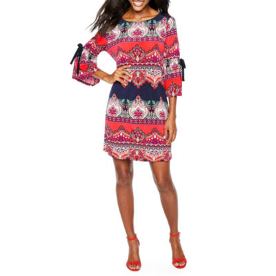 BE BY CHETTA B 3/4 Sleeve Medallion Shift Dress