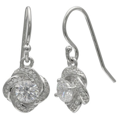 Silver Treasures Sterling Silver Round Drop Earrings
