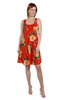 24Seven Comfort Apparel Alicia Red Floral Mini Dress