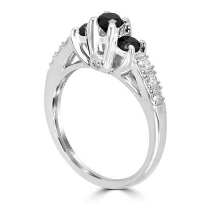 Love Lives Forever Womens 1 CT. T.W. Genuine Black Diamond 14K White Gold 3-Stone Engagement Ring