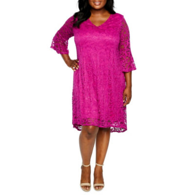 Studio 1 3/4 Sleeve Lace Shift Dress - Plus