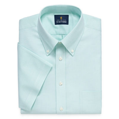 Stafford Travel Wrinkle Free Stretch Oxford Short Sleeve Mens Button Down Collar Short Sleeve Wrinkle Free Stretch Dress Shirt