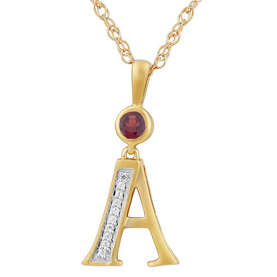 A Womens Genuine Red Garnet 14K Gold Over Silver Pendant Necklace