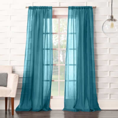 Lola Solid Rod-Pocket Sheer Curtain Panel