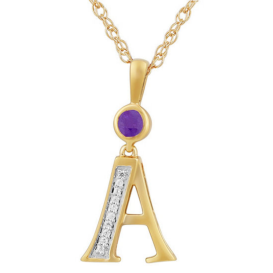 A Womens Genuine Purple Amethyst 14K Gold Over Silver Pendant Necklace