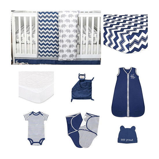 The Peanut Shell Eli Chevron Crib Bedding Set