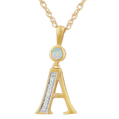 A Womens Lab Created White Opal 14K Gold Over Silver Pendant Necklace