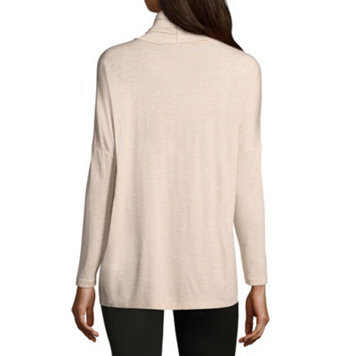 Liz Claiborne Long Sleeve Surplice Knit Top-Womens