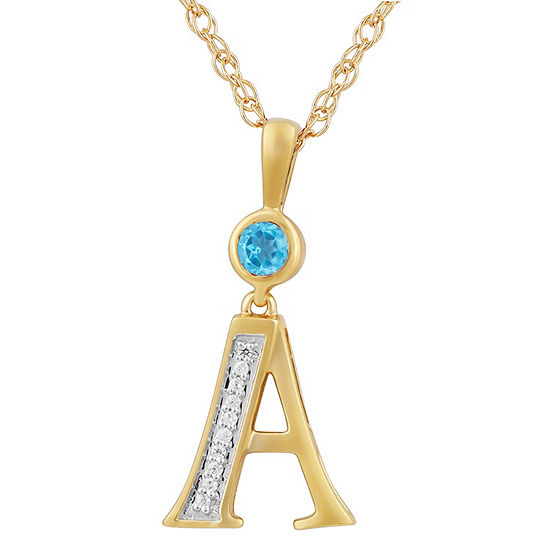 A Womens Genuine Blue Topaz 14K Gold Over Silver Pendant Necklace