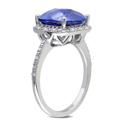 Womens 1/10 CT. T.W. Lab Created Blue Sapphire Sterling Silver Cocktail Ring