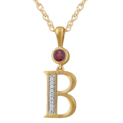 B Womens Genuine Red Garnet 14K Gold Over Silver Pendant Necklace