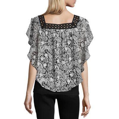 Alyx Womens Square Neck Short Sleeve Knit Blouse