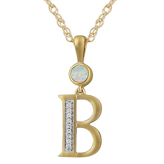 B Womens Lab Created White Opal 14K Gold Over Silver Pendant Necklace