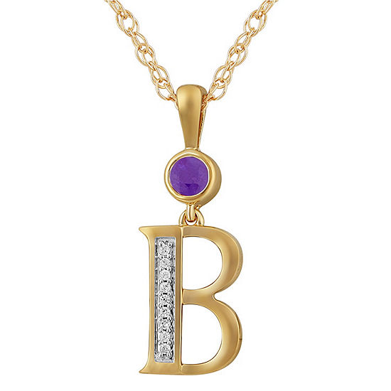 B Womens Genuine Purple Amethyst 14K Gold Over Silver Pendant Necklace