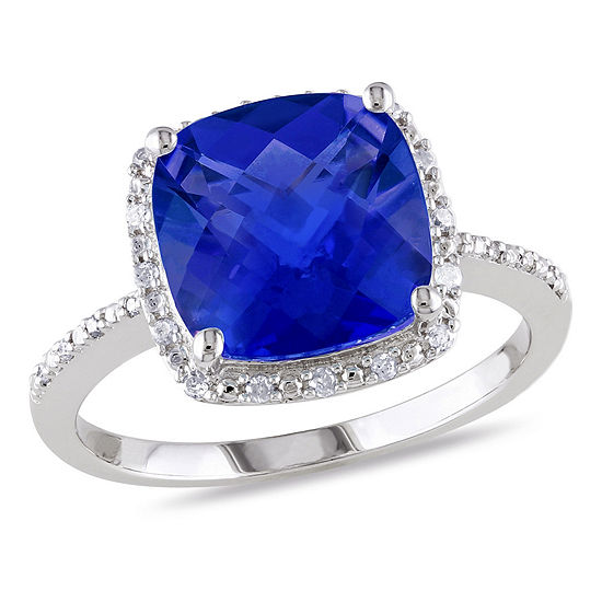 Womens 1 10 Ct Tw Lab Created Blue Sapphire Sterling Silver Cocktail Ring