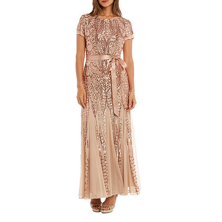1920s Plus Size Flapper Dresses, Gatsby Dresses, Flapper Costumes R  M Richards Short Sleeve Belted Evening Gown Womens Size 18 Beige $83.99 AT vintagedancer.com