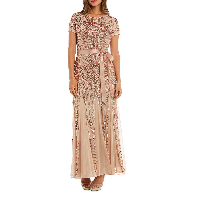 1920s Evening Dresses & Formal Gowns R  M Richards Short Sleeve Belted Evening Gown Womens Size 12 Beige $120.00 AT vintagedancer.com