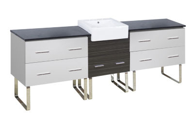 96.25-in. W Floor Mount White-Dawn Grey Vanity SetFor 3H8-in. Drilling Black Galaxy Top