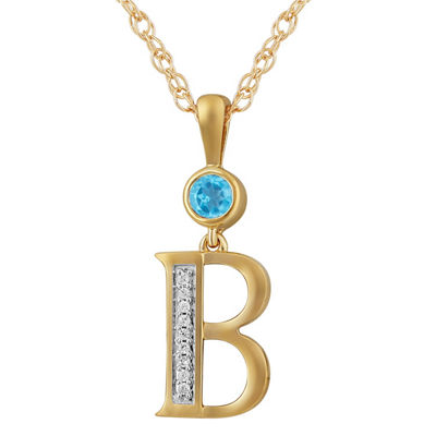 B Womens Genuine Blue Topaz 14K Gold Over Silver Pendant Necklace