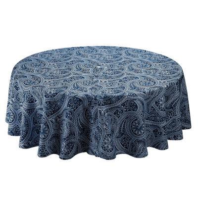 Design Imports Blue Paisley Umbrella Outdoor Tablecloth