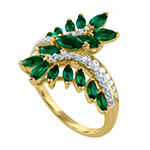 Womens Lab Created Green Emerald 14K Gold Over Silver Cocktail Ring