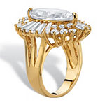 Womens White Cubic Zirconia 14K Gold Over Brass Cocktail Ring