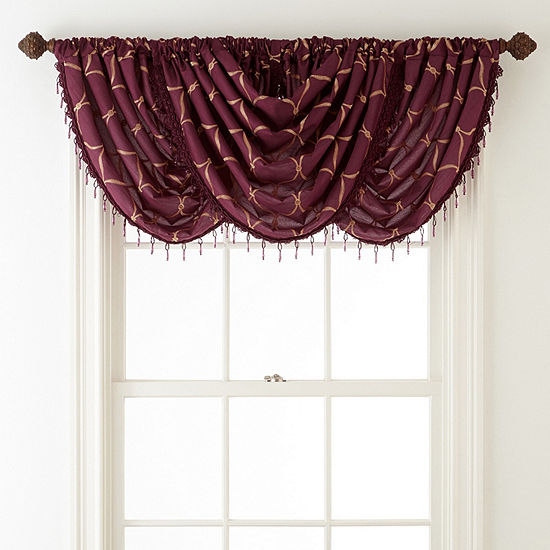 JCPenney Home Geneva Embroidery Rod-Pocket Waterfall Valance
