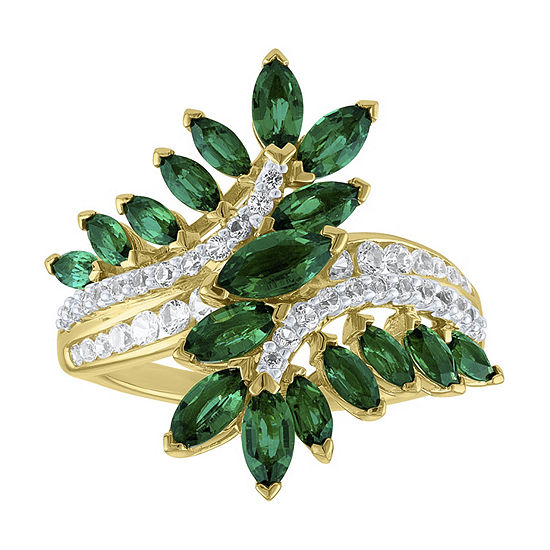 Womens Lab Created Green Emerald Cocktail Ring