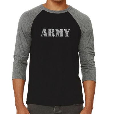 Los Angeles Pop Art Men's Raglan Baseball Word Art T-shirt - LYRICS TO THE ARMY SONG