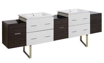 88.5-in. W Floor Mount White-Dawn Grey Vanity SetFor 1 Hole Drilling