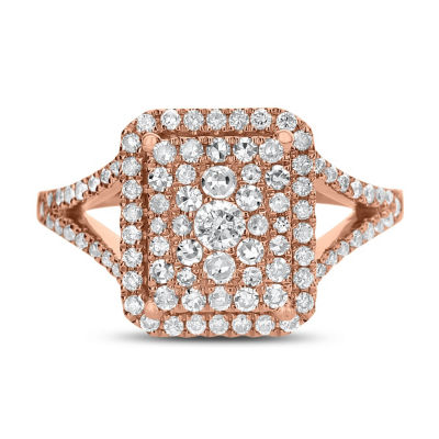 Womens 3/4 CT. T.W. Genuine White Diamond 14K Rose Gold Engagement Ring