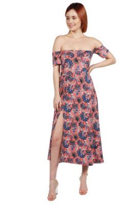 24Seven Comfort Apparel Nina Pink and Blue FloralSide Slit Dress