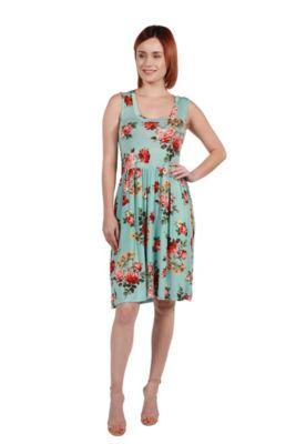 24Seven Comfort Apparel Nicole Green Floral Dress