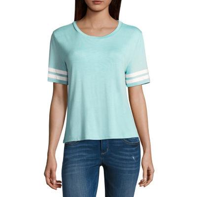 Pink Rose Short Sleeve Round Neck T-Shirt-Womens Juniors
