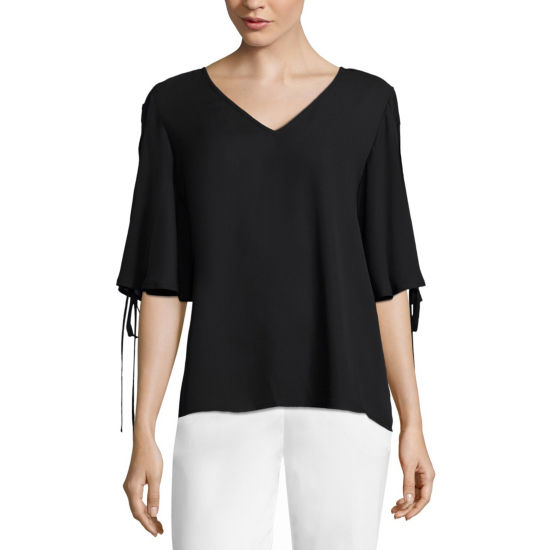Worthington Womens V Neck Elbow Sleeve Blouse Jcpenney