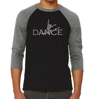 Los Angeles Pop Art Men's Big & Tall Raglan Baseball Word Art T-shirt - Dancer