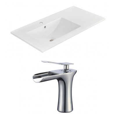 35.5-in. W 1 Hole Ceramic Top Set In White Color -CUPC Faucet Incl.